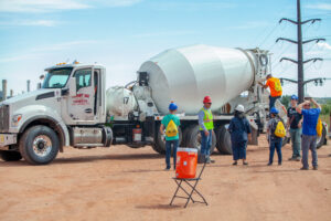 6 Careers in Construction Students standing near a concrete mixer