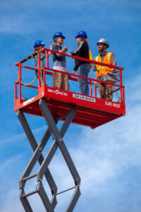 3 Careers in Construction students on Skyjack construction equipment