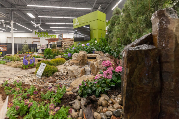 rocky fountain being showcased at the home and garden show